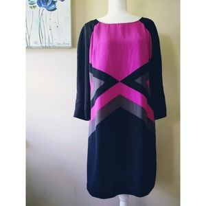 Ice Magenta Color Block 3/4 Sleeve Dress Size 10